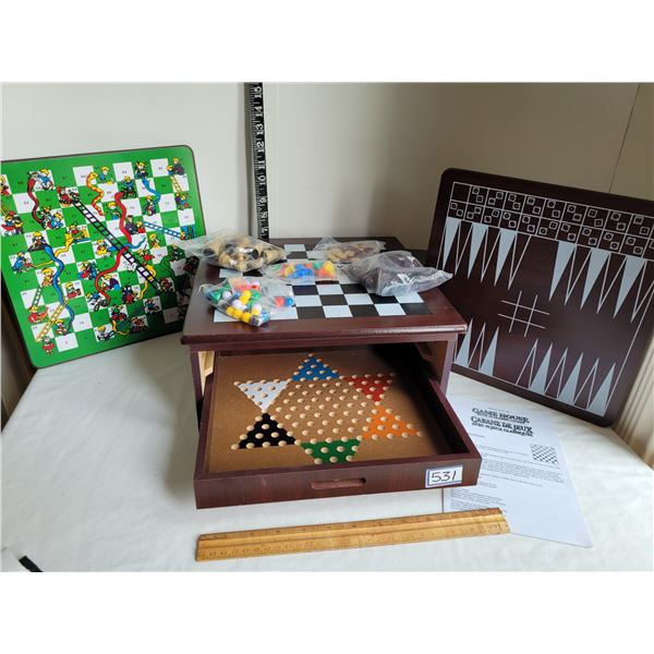 Wood 10 game center. Pieces & instructions