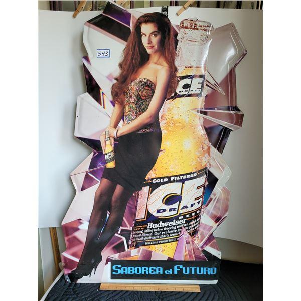 "Rare 1993-'95 Budweiser ice 33"" tin sign. Features Latino model."