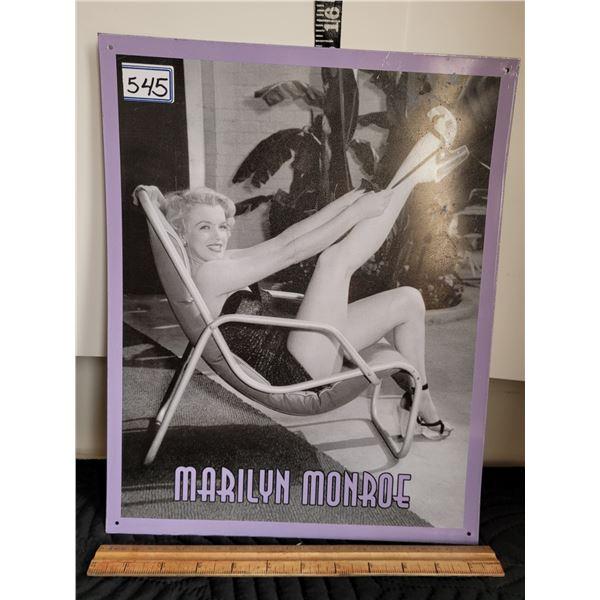 Tin sign of Marilyn Monroe.