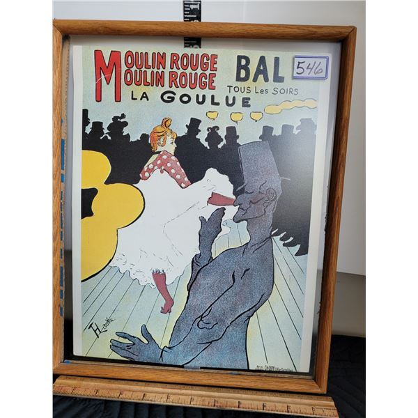 Vintage Moulin Rouge Reproduction of 1st poster by HT Lautrec.