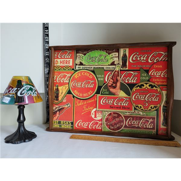Coca-Cola candle lamp & wooden serving tray.