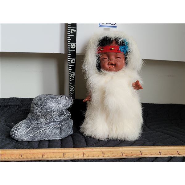 Vintage inuit doll in rabbit fur. Traditional soapstone beaver.