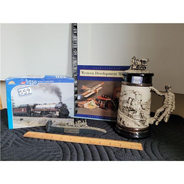 Railway spike, locomotive mug, train puzzle & museum booklet
