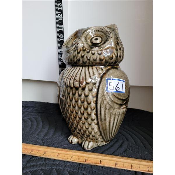 Ceramic owl coin bank.
