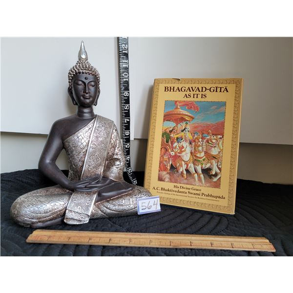 """Buddah statue & hard cover spiritual book """"Bhagavad-gita"""""""