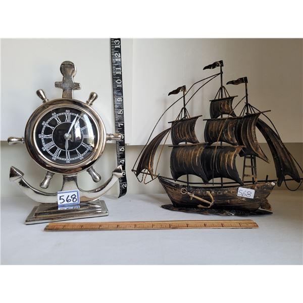 Old Nautical clock and Tin ship