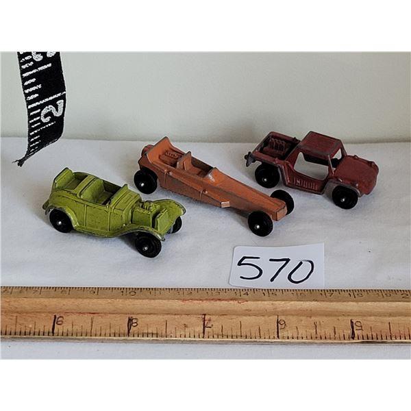 3 vintage Tootsie toy cars.