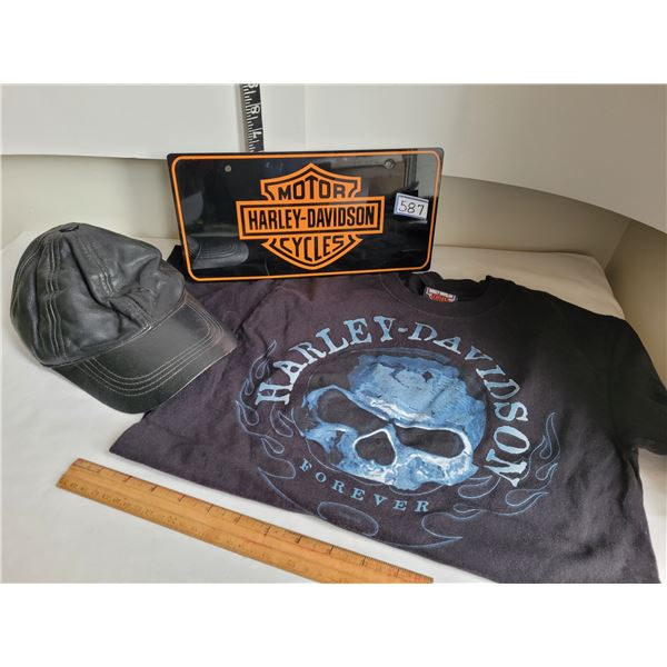 Harley Davidson License plate, small shirt & leather ball cap.