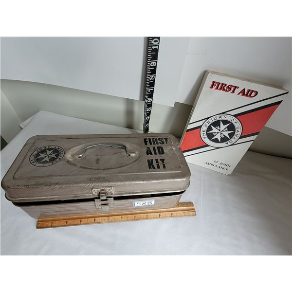 Vintage St.John Ambulance First Aid kit and book.