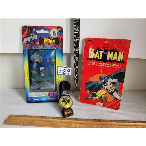 Vintage Batman Book (comic), switch plate & DC comics watch.