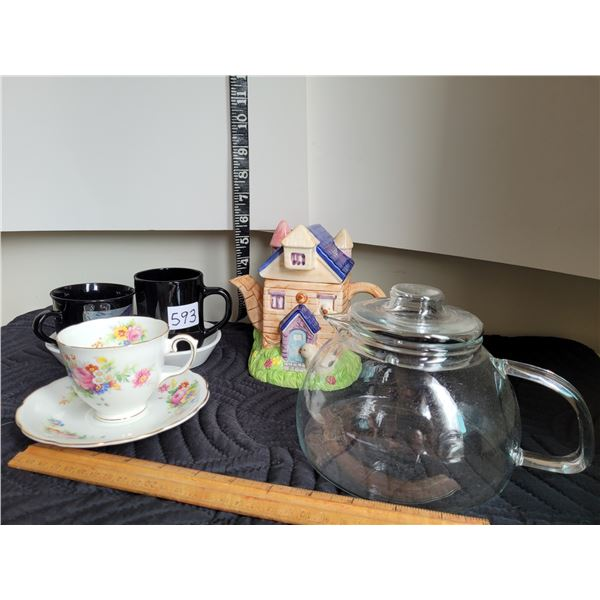 Novelty house teapot, glass teapot, vintage cups and saucers.