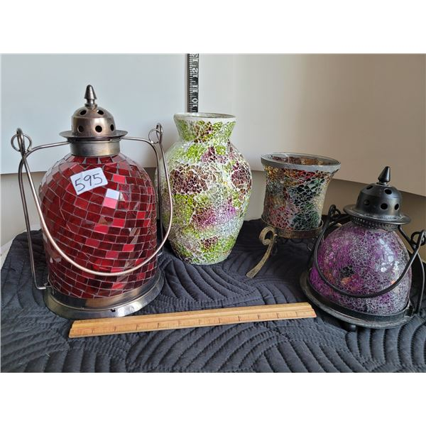 Group of mosaic candle light lamps and mosaic vase.