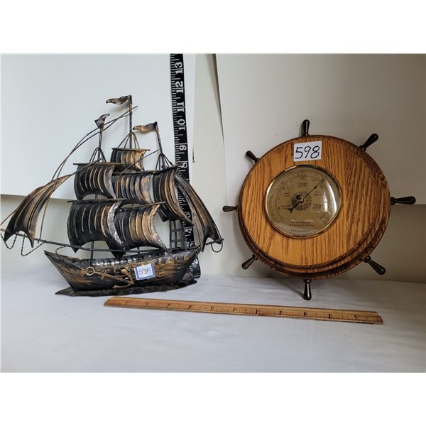 Old Ship's wheel Barometer (France) & metal sailing ship