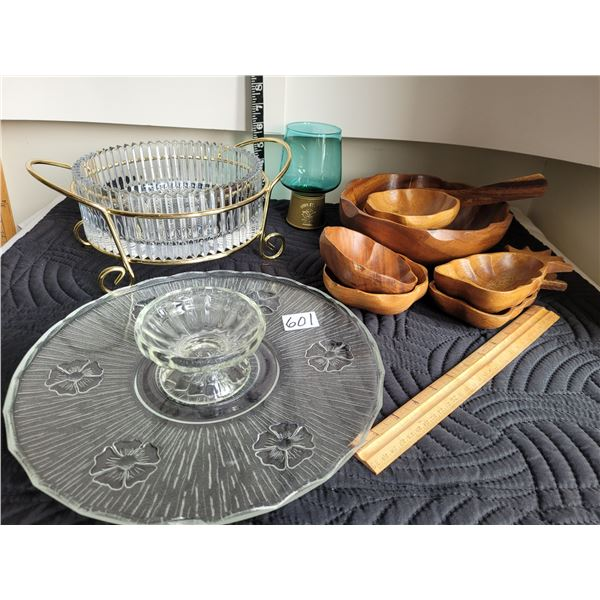 Mid century cake platter & serving dishes. Teak salad bowl set.