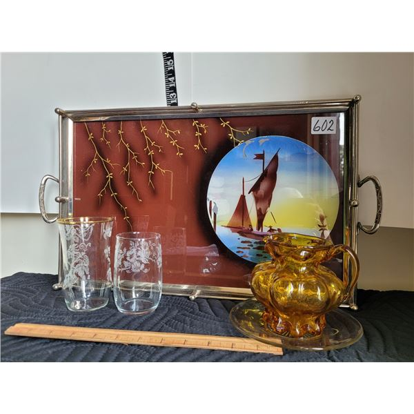 Vintage metal rim, glass top tray, etched glasses, amber creamer
