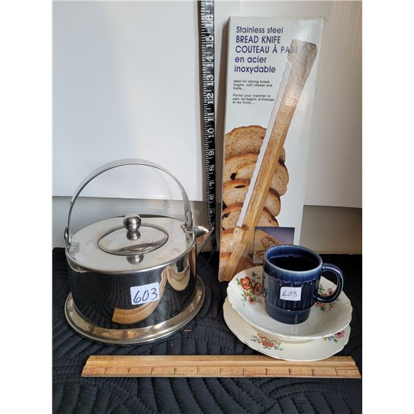 Stainless kettle, bread knife, vintage soup bowl & plate.(England)