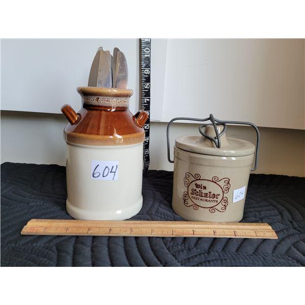 Win Schuler restaurant crock & ceramic milk can utensil holder.