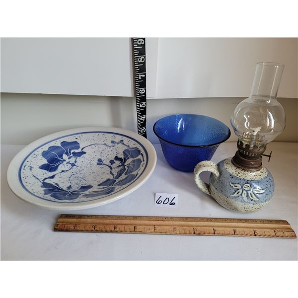 Pottery bowl & small oil lamp with nice cobalt blue bowl.