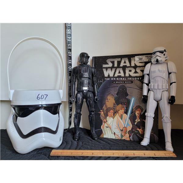 Star Wars collection. Book, Action figures &  bucket.  See details..