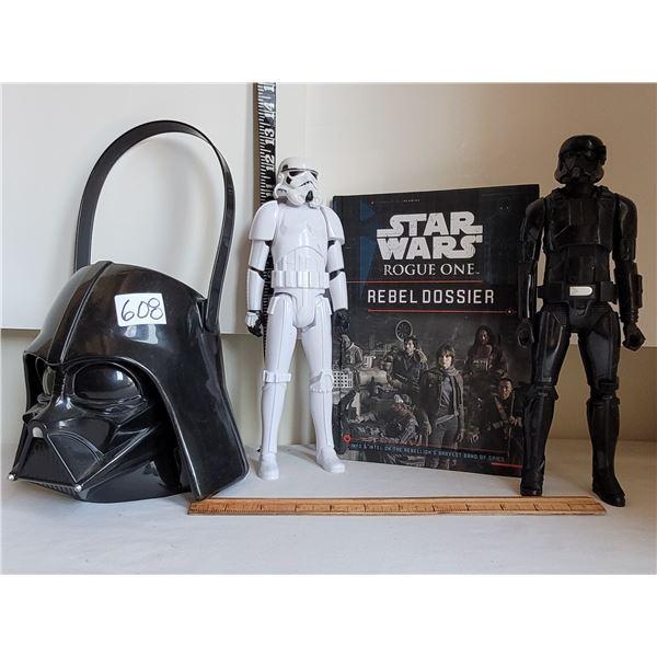 Darth Vader bucket & action figure. Storm Trooper, Rogue 1 book.