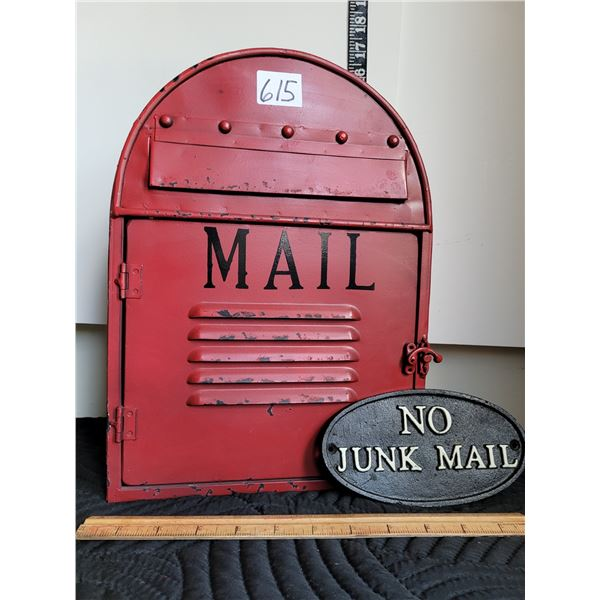 Tin replica mailbox. Wall mount or standing. Cast iron Junk sign.