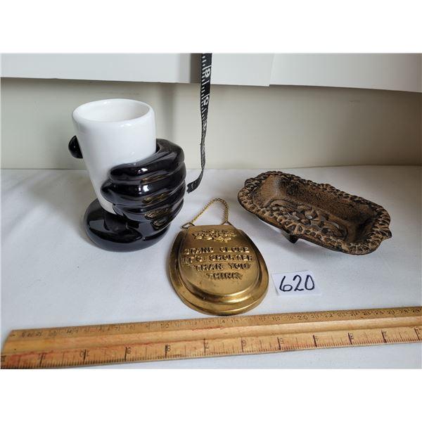 Cast iron soap dish, Brass toilet lid & ceramic hand holding glass