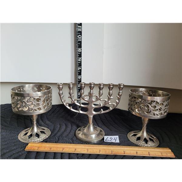 Vintage metal menorah candle set