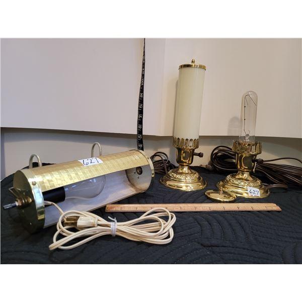 Vintage boudoir lamps, one missing tube & head board lamp.