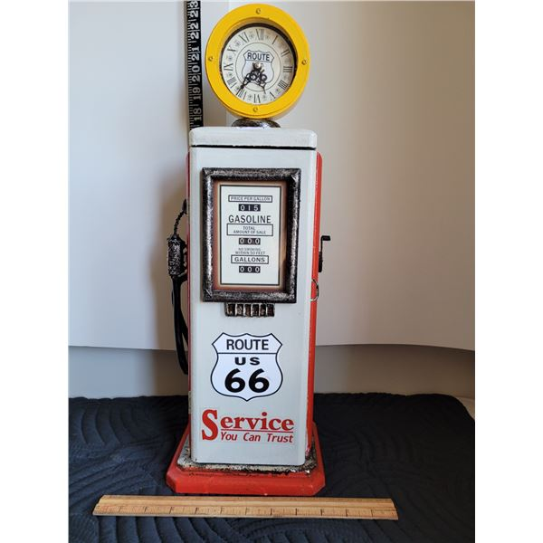 Route 66 wood gas pump cabinet & clock