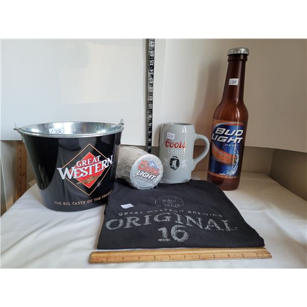 Group of beer products for his bar.