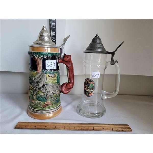 Vintage ornate German beer stein & unique glass stein.