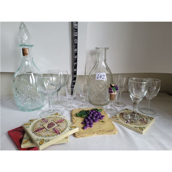 Older wine decanters, Sipping & liquer glasses, coasters & plaque.
