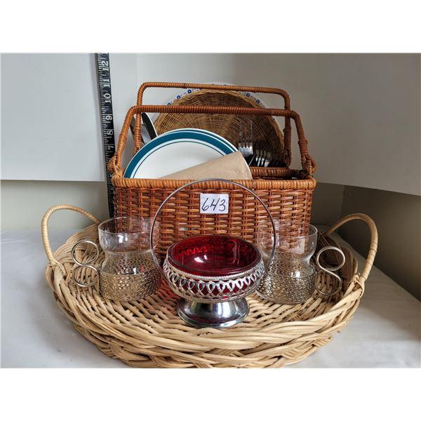 Wicker serving tray & utensil basket, vintage mugs & red bowl.