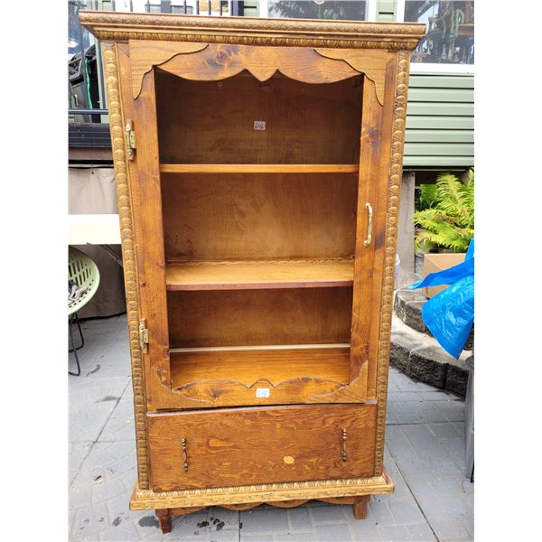 Primitive china cabinet with drawer. Needs glass in door.