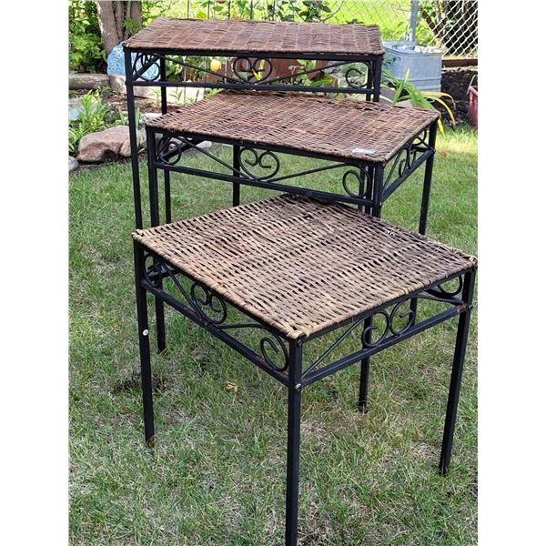 3 metal & wicker nesting tables. Some wicker damage.