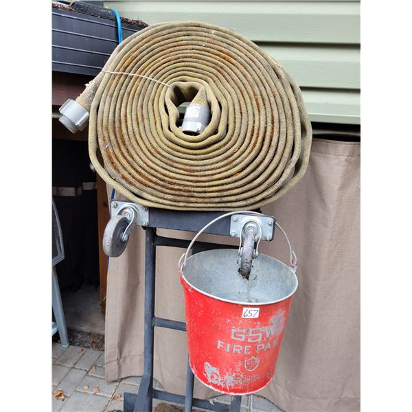"""Vintage GSW Fire pail & 2"""" fire hose with couplers."""