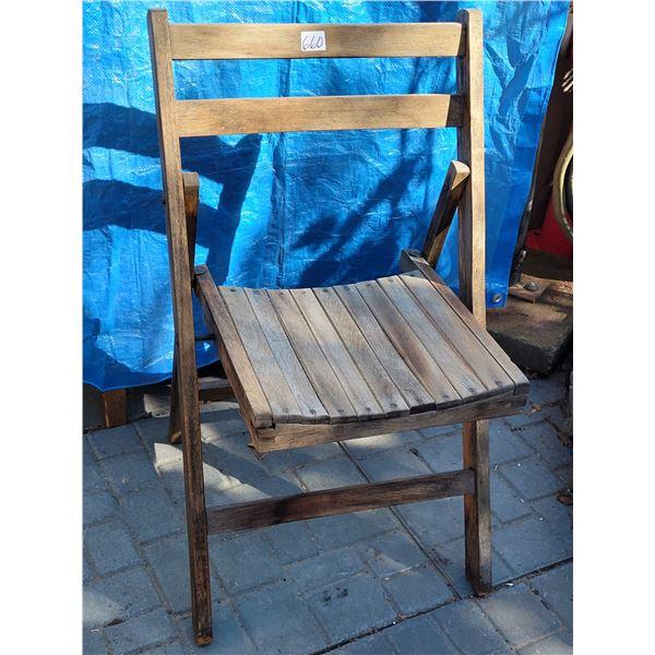 Vintage folding wood chair.