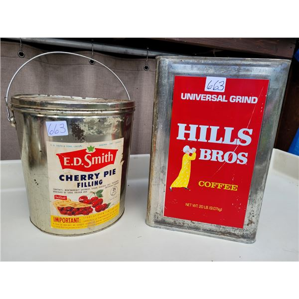 Vintage Lg Hill Bros. Metal coffee tin & Large ED Smith can