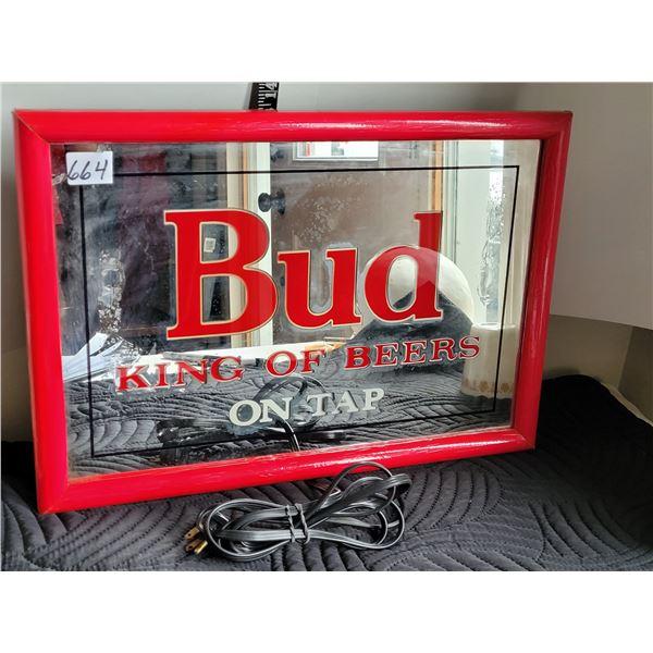 Portable electric Bud Beer Sign. Lights up nice, some damage.