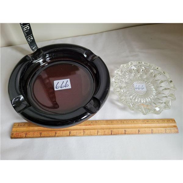 Vintage dark amber smoke stand ashtray & a cut glass ashtray.