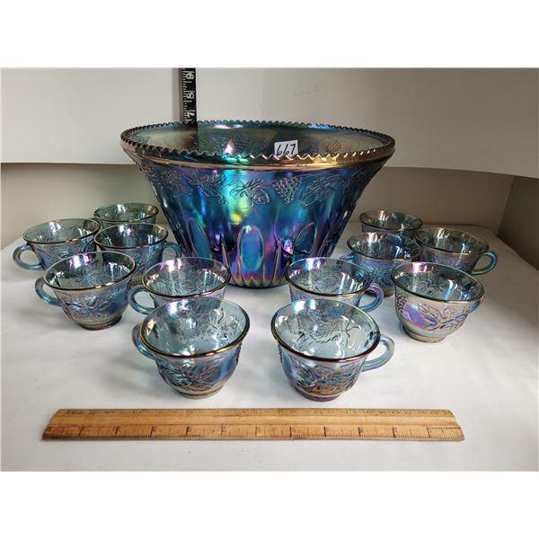 Vintage Indiana Blue Harvest Grape carnival glass punch bowl & 12 cups