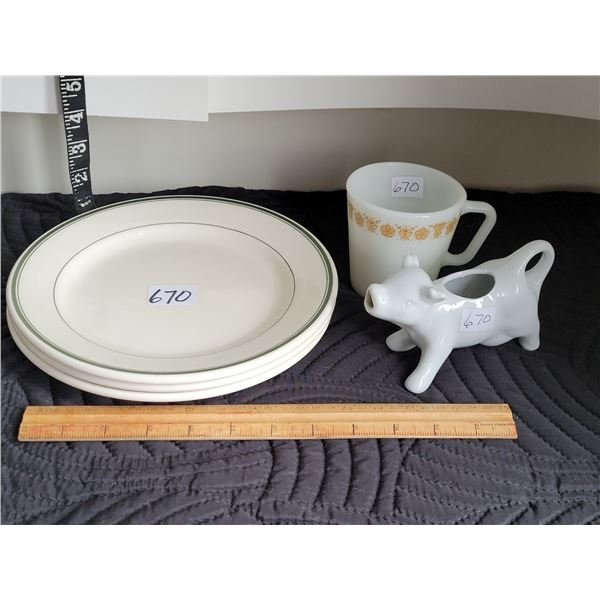 Vintage vitresol restaurant plates, Pyrex English mug. Cow creamer