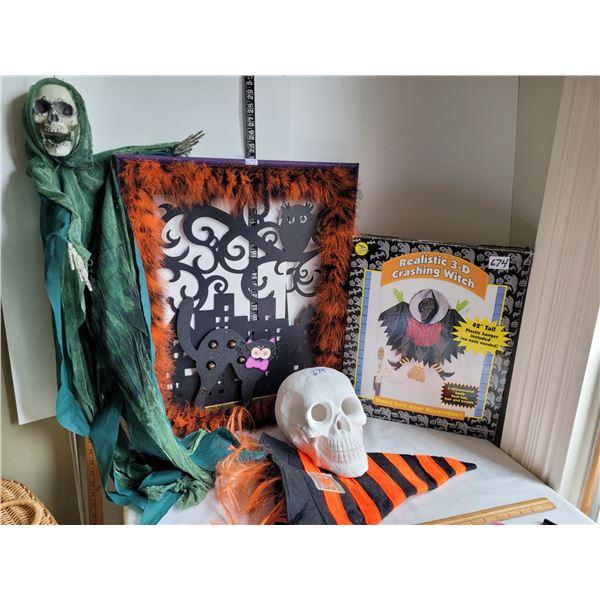 Halloween lot. Door hanger, plaster skull, hooded skeleton, crashing witch & orange hair hat.