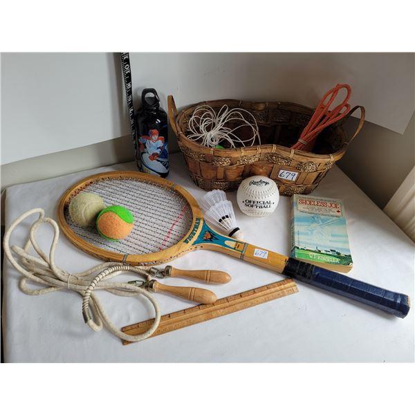 Vintage Wightman wood tennis racquet. Sports lot in wicker basket, vintage wood handle jump rope, so