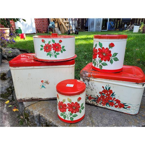 Vintage tin canister set