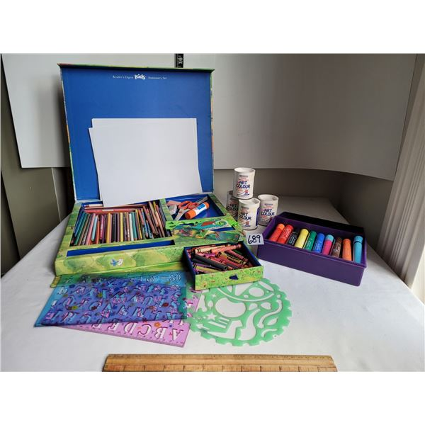 Reader's Digest art, stationary kit. Pencils,wax crayons, stencils, markers, paint & paper.