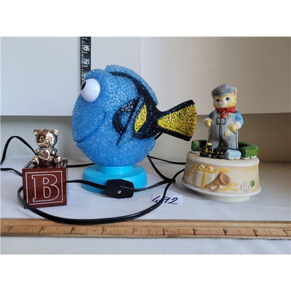 "Nemo night light (working) Music box, plays""toyland"". 1st tooth box."