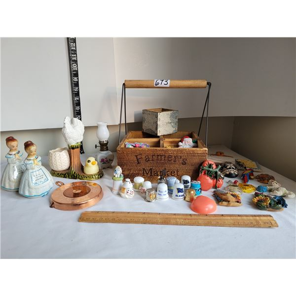 Farmer's market box with magnets, thimbles, S&P shakers etc.