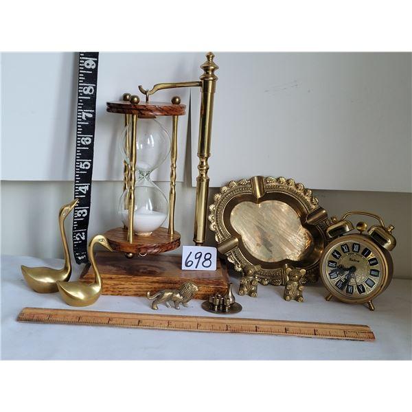 Old brass hour glass , bell alarm clock & miniatures.