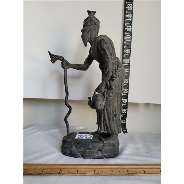 Vintage very heavy metal (possibly bronze) Chinese old man.